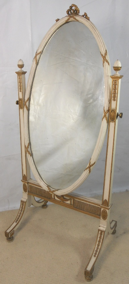 Gilt Amp Painted Oval Decorated Cheval Dressing Mirror